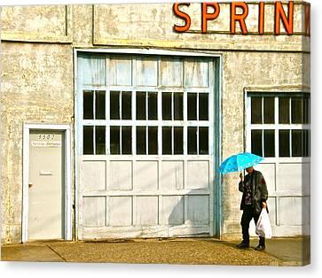 Canvas Print featuring the photograph Blue Umbrella by Brian Sereda