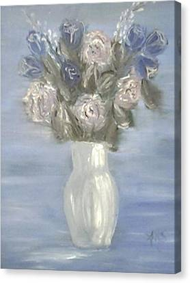 Canvas Print featuring the painting Blue Vase by Angela Stout