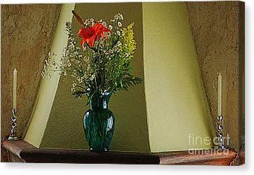 Canvas Print featuring the digital art Blue Vase With Orange Flower by John  Kolenberg