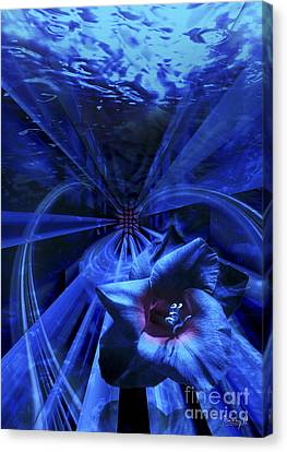 Blue Waterflower Canvas Print