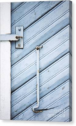 Canvas Print featuring the photograph Blue Wooden Wall With Metal Hook by Agnieszka Kubica