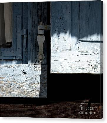 Canvas Print featuring the photograph Blue Wooden Window Shutters by Agnieszka Kubica