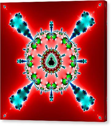 Blue X On Red Canvas Print by Mark Eggleston
