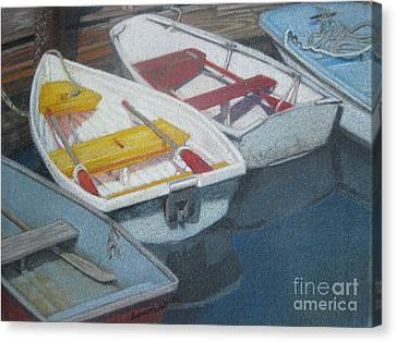 Blue Yellow And Red Boats Tremont Maine Canvas Print