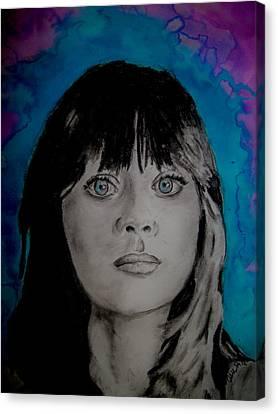Celeb Canvas Print - Blue Zooey Deschanel by Ashley Henry