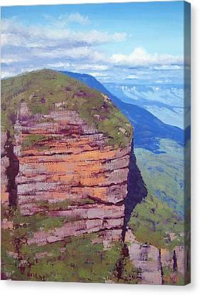 Bluecmountains Cliff Canvas Print by Graham Gercken
