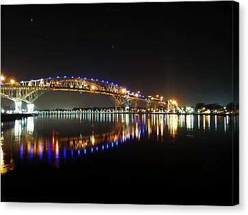 Bluewater Bridges On A Warm Spring Night Canvas Print