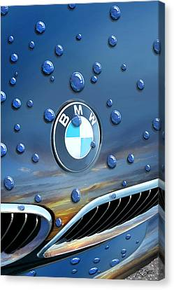 Bmw - Roundel And Raindrops Canvas Print by Rod Seel