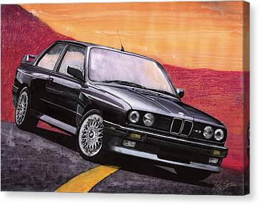 Canvas Print featuring the painting Bmw E30 M3 by Rod Seel