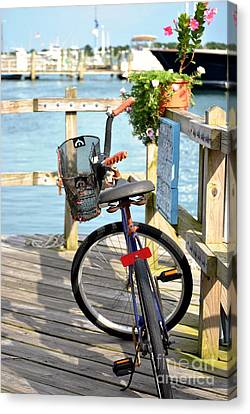 Canvas Print featuring the photograph Boardwalk Bike by Kelly Nowak
