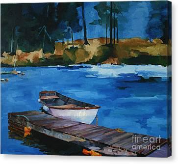 Boat And Bridge Canvas Print by Pepe Romero