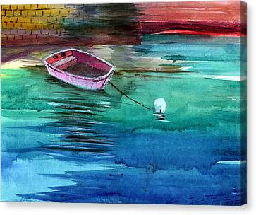 Boat And The Buoy Canvas Print by Anil Nene