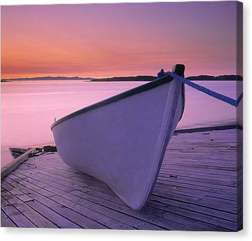 Boat At Dawn, Harrington Harbour, Lower Canvas Print by Yves Marcoux