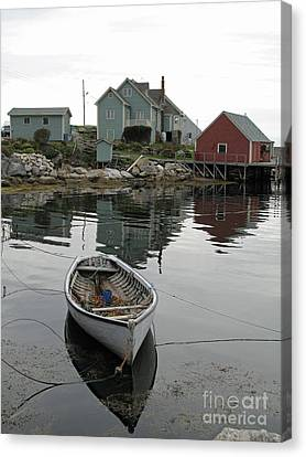 Boat At Peggy's Cove Canvas Print by Louise Peardon