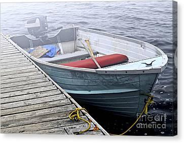 Boat In Fog Canvas Print by Elena Elisseeva