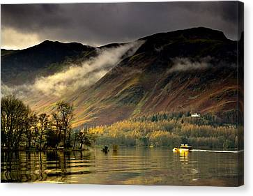 Boat On Lake Derwent, Cumbria, England Canvas Print by John Short