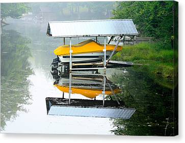 Boat Reflections Canvas Print by Ann Murphy