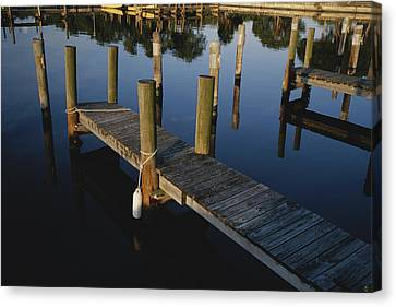 Boat Slips At A Marina On A Calm Canvas Print by Raul Touzon