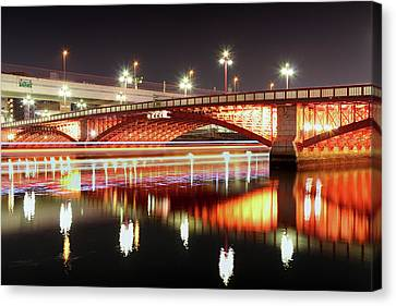 Boat Trails Under Bridge At Night Canvas Print by By Counteragent