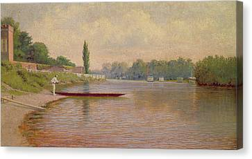 Boating On The Thames Canvas Print by John Mulcaster Carrick