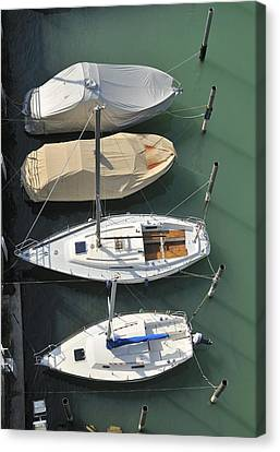 Boats And Water From Above Canvas Print by Matthias Hauser