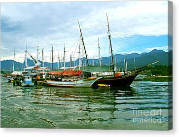 Canvas Print featuring the photograph Boats At Paraty Brasil by Nareeta Martin