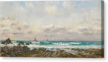 Boats At Sea Canvas Print by William Lionel Wyllie