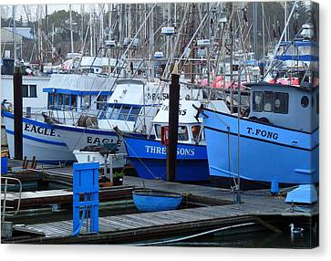 Boats Docked In Harbor Canvas Print by Jeff Lowe