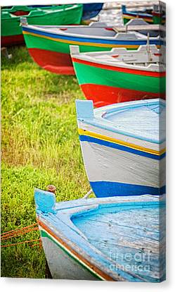 Boats In A Row II Canvas Print by Silvia Ganora