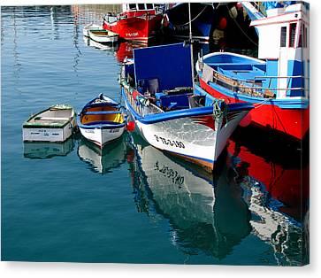 Boats In Los Christianos Canvas Print by Barbara Walsh