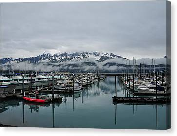 Boats In Marina With Snow Capped Canvas Print by Jorge Fajl