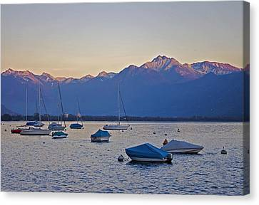 Boats In The Evening Sun Canvas Print