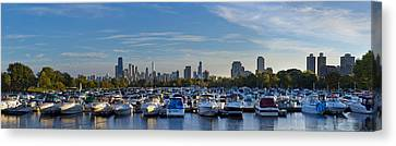 Sky Line Canvas Print - Boats In The Harbor In Chicago by Twenty Two North Photography
