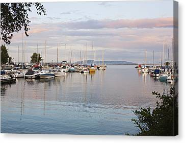 Boats In The Harbour At Sunset Thunder Canvas Print by Susan Dykstra
