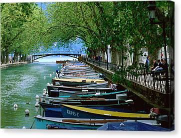 Boats On Canal Du Vasse, Annecy, Rhone-alpes, France, Europe Canvas Print by John Elk III