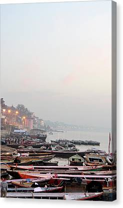 Boats On Ganges River In Morning Canvas Print by Jessica Solomatenko