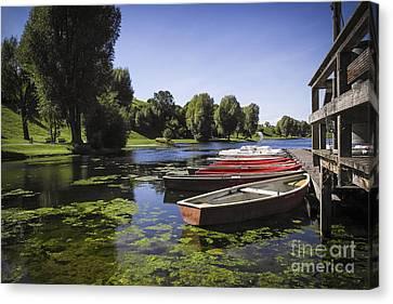 Boats On Lake Canvas Print by Martin Dzurjanik