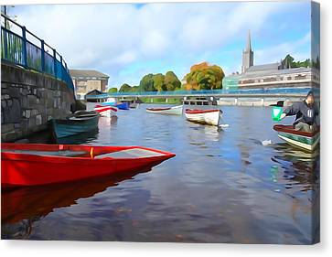 Canvas Print featuring the photograph Boats On The Garavogue by Charlie and Norma Brock