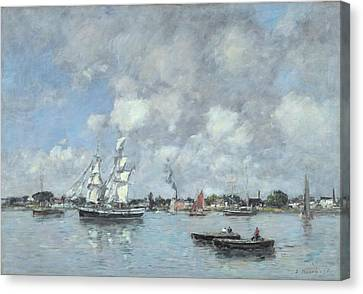 Boats On The Garonne Canvas Print by Eugene Boudin