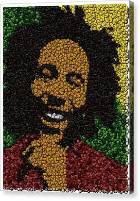 Bob Marley Bottle Cap Mosaic Canvas Print by Paul Van Scott