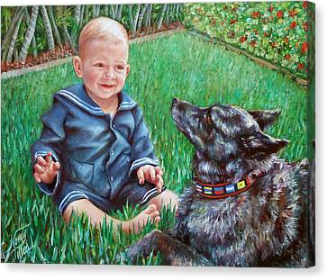 Canvas Print featuring the painting Bobby And Cinder by Nancy Tilles