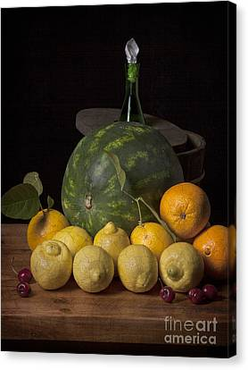 Bodegon - Watermelon-citrus And Cooler Canvas Print by Levin Rodriguez
