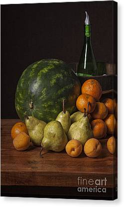 Bodegon - Watermelon-pears And Cooler Canvas Print by Levin Rodriguez