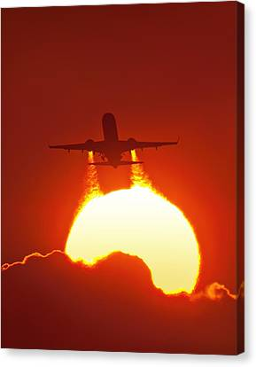 Jet Set Canvas Print - Boeing 737 Taking Off At Sunset by David Nunuk