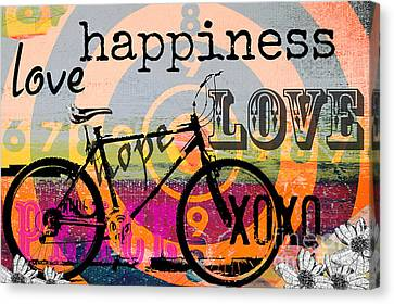 Bohemian Bicycle Love Canvas Print by Anahi DeCanio