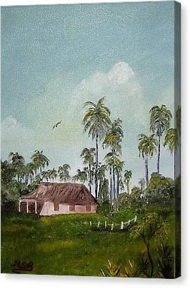 Bohio Y Palmeras Canvas Print by Maria Soto Robbins