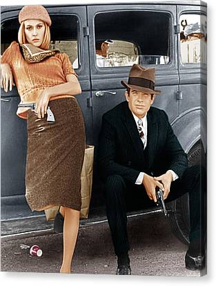 Bonnie And Clyde, From Left Faye Canvas Print by Everett