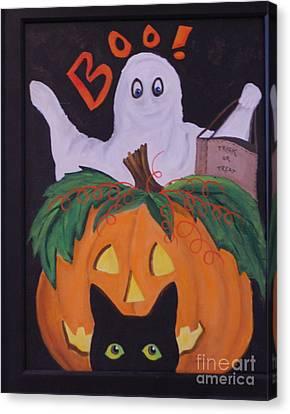 Boo-happy Halloween Canvas Print by Janna Columbus