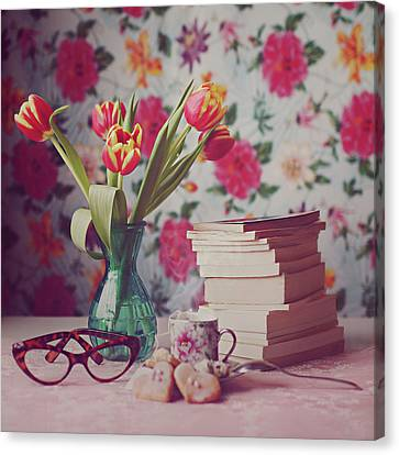 Books And Tulips Canvas Print