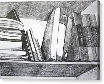 Books On A Shelf Canvas Print by Jan Swaren